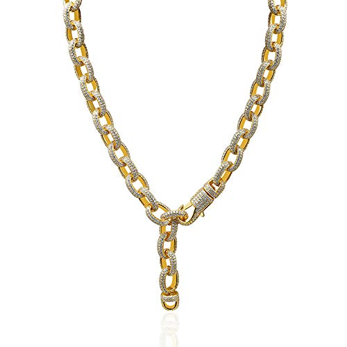 Iced Out Bling Strass Kette Golden Finish Miami Cuban Link Kette Halskette Herren Hip Hop Halskette ()