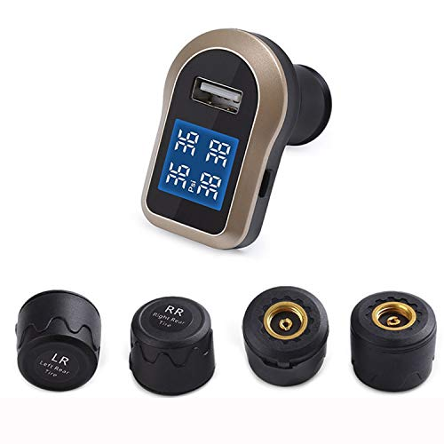 HEIFEN Alimentatore per accendisigari 12V per Auto Monitor a Quattro Ruote Display simultaneo Configurazione di 4 sensori Esterni Alimentatore Portatile per accendisigari USB e 12V