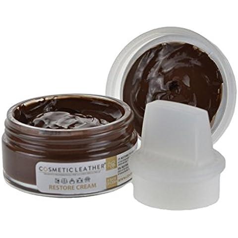 Crema per scarpe autolucidante marrone 50ml con spugna applicatore stendi