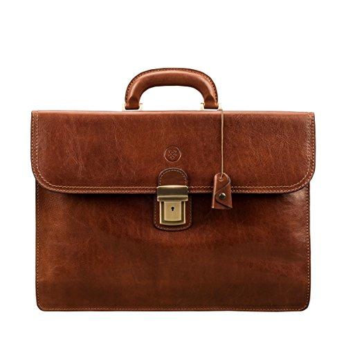 Brown Italienischen Leder Handgefertigt (Maxwell-Scott® Luxus Leder Aktentasche in Cognac Braun (Paolo2))