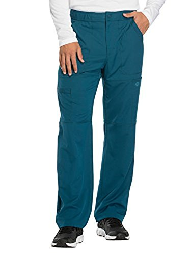 Dynamix By Dickies Men's Zip Fly Cargo Scrub Pant Medium Caribbean Blue (Scrubs Zip Dickies)