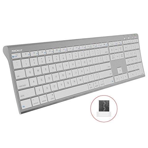 Macally RF kabellose Computertastatur (volle Größe) mit kompaktem 2,4 GHz Dongle USB-Empfänger für Apple MacBook Pro, Air Laptops oder iMac, Mac Mini Desktops, Plug-and-Play (ultraflach) -