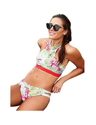 Bestgift Damen Bikinis Bikini Push Up Badeanzug Rückenfrei Multicolor2