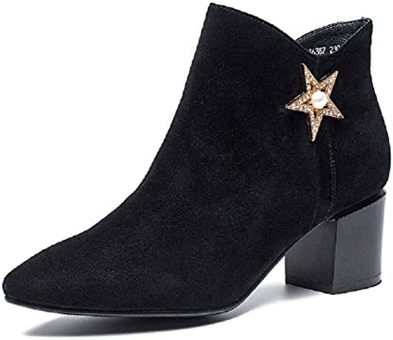 Gaslinyuan Star stivali donna nero nero nero Block in Rilievo di Cuoio (Coloreee   Nero, Dimensione   EU 39) | Outlet Online Store  941833