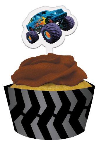 onverting Mudslinger Cupcake Pick Dekorationen mit passenden Backförmchen Wrappers, 12Zählen (Monster-truck-cupcakes)