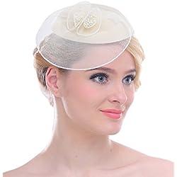 Fascinator pour femmes filet en maille ,pince š€ cheveux fleurs Pillbox chapeau pour Cocktail mariage Derby(Ivoire)
