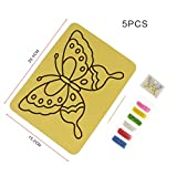 #8: Goln 5 Pieces/Set DIY Cartoon Color Sand Painting Art Paper Set Drawing Toy Kids Educational Toys Several Sizes Paper to Choose---20.4*15.2 cm