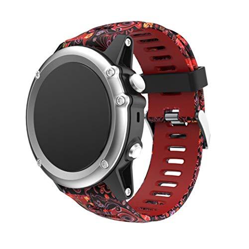 Bestow Garmin Fenix 3 Reloj GPS Silicagel Banda Suave Banda de Reloj Reloj Elegante Reloj de Pulsera de aparatos electr¨nicos Gadgets(B)