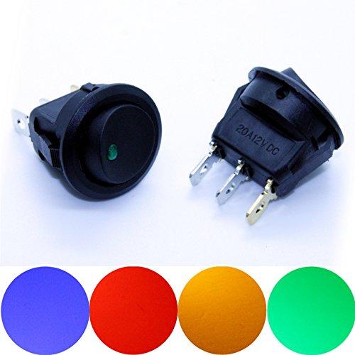 Preisvergleich Produktbild LED-Mafia® 1X Wippschalter 12V beleuchtet Kippschalter (1X grün)