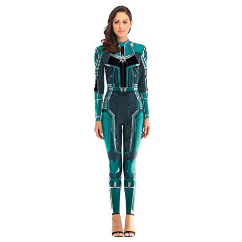 GanSouy Avengers: Endgame Movie Captain Marvel Bodysuit Spandex Jumpsuits Captain Marvel Kostüm Damen Weihnachten Halloween Show Cosplay Kostüm,Green-XL