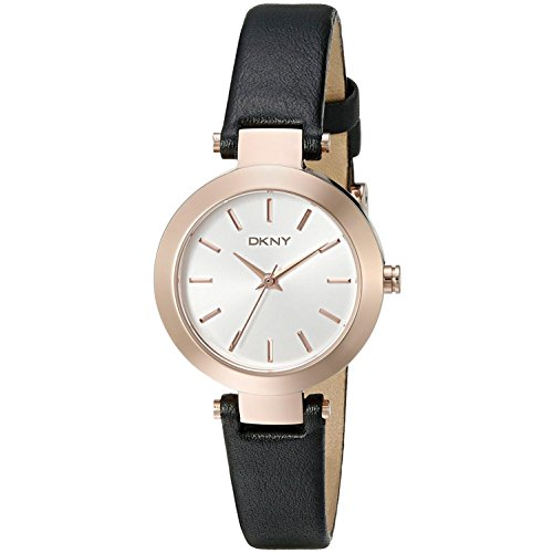 DKNY Women's 28mm Black Calfskin Band Steel Case Quartz Silver-Tone Dial Analog Watch NY2458