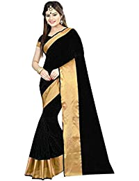 Silk Zone Women's Cotton Silk Saree With Blouse Piece (Sz00164,Black,Free Size)