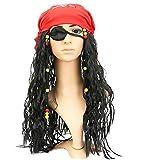 Inception Pro Infinite Set Pirata dei Caraibi - Jack Sparrow - Parrucca + Bandana + Benda per Occhio - Accessori - Travestimento - Adulti - Bambini - Halloween - Carnevale - Unisex