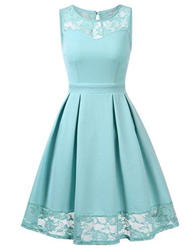 KOJOOIN Damen Elegant Kleider Spitzenkleid Ohne Arm Cocktailkleid Knielang Rockabilly Kleid Mint Grün Hellgrün Türkis XS - Frauen Für Grün-kleid Mint