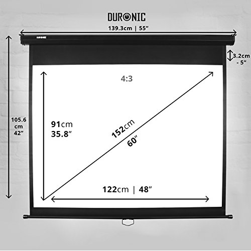 Duronic MPS 60 / 43 Projektor Leinwand / Rollo – Leinwand 100 Zoll / Nutzfläche 221×125 cm / Decke oder Wand montierbar - 2