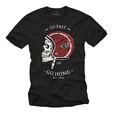 T-Shirt Casque de Moto GO FAST OR GO HOME Noir