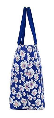 Da donna grande Borsa Shopper Borsa da spiaggia in tela a righe leggero Borsa a tracolla Holiday multicolore Wallflower Purple large Daisy Flower Navy