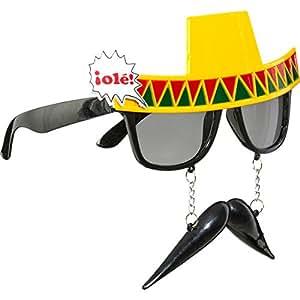 Mexicains lunettes avec barbe tequila spaßbrille mexique faschingsbrille avec fausse moustache chapeau sombrero hC funbrille karnevalsbrille karnevalskostüme moustache accessoires homme