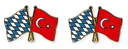 Yantec Freundschaftspin 2er Pack Bayern Türkei Pin Anstecknadel Doppelflaggenpin