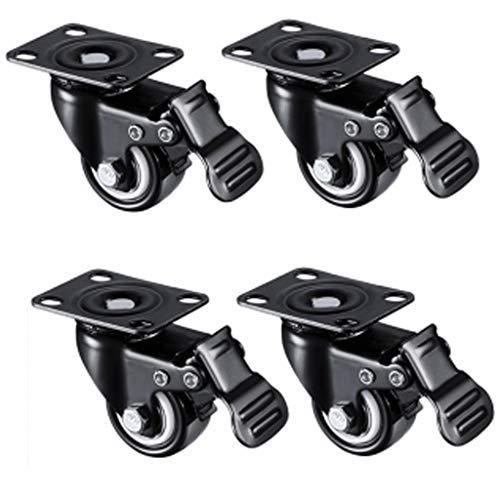 Lenkrollen,2 Zoll Heavy Duty Caster,Sofa Drehstuhl Mute Rad,Polyurethan PU Lenkrollen Mit Bremse 360-Grad-Deckplatte,4er-Set Black-2 Inch 4 Brakes -