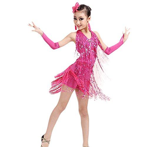 Kostüm Mumie Kinder Mädchen - Lazzboy Kostüme Dance Kleinkind Kinder Mädchen Latein Ballett Kleid Quaste (Höhe120,Rosa)