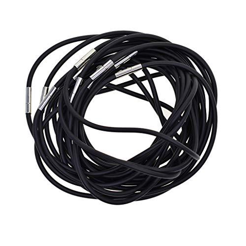FLAMEER 10 Stück 3mm Schwarzer Gummischnur Damen Herren Halskette Kautschuk Armband schwarz - Schwarz, 45 cm