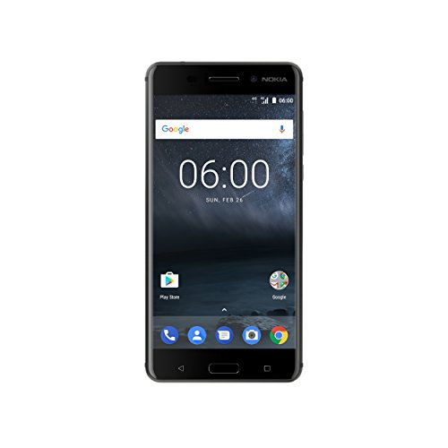 Nokia 6 Smartphone (13,9 cm (5,5 Zoll), 32GB, 16 Megapixel Kamera, Android 7.0, Single Sim) matt-schwarz, version 2017