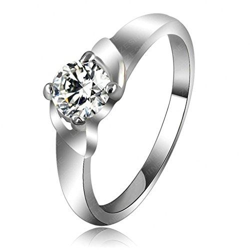 Daesar Vergoldet Ringe Damen Runde Zirkonia Ring Strass Verlobungsring Stein Ring Größe: 50 (Paar Kostüm Kaugummiautomaten)