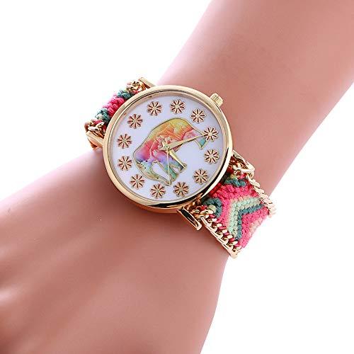 YunYoud Geflochtene Seil Armband Elefant Muster Armbanduhr strass ausgefallene wasserdichte modern solaruhr grosse rechteckig edle wasserdicht preiswerte mechanische handuhr