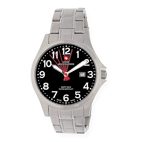 5c719cb9dac Swiss Mountaineer Mens Watch Silver Tone Stainless Steel Band Black Easy  Read Dial Date SM8030