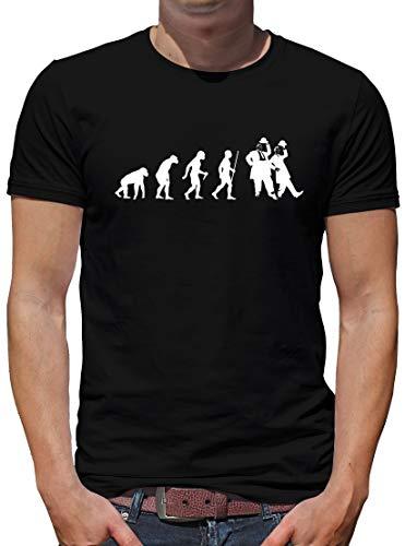 TShirt-People Evolution Dick und Doof T-Shirt Herren Spass Fun Lustig Sprüche S Schwarz - Dick Lustig T-shirt