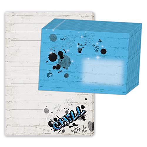Schreibblock/Briefblock'GRAFFITI DIN A5 (liniert 50 Blatt) inklusive 20 passenden Umschlägen/Briefpapier Kinder/Briefpapier Set Teens/cooles Briefpapier mit Linien