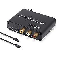 LOETAD Convertidor de Audio Digital a Analágico Conversor DAC de 192 KHz Coaxial Óptico Toslink Señal a Adaptador de Analágico Estéreo RCA L/R con Salida de Jack DE 3,5 mm