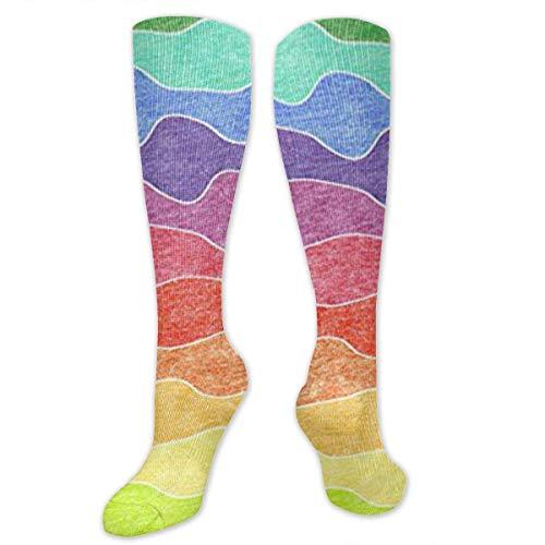 Gped Kniestrümpfe,Socken Large Rainbow Crayon Waves Compression Socks,Knee High Socks,Funny Socks for Women Men - Best Medical,Sports,Running, Nurses,Maternity,Pregnancy,Travel & Flight Socks