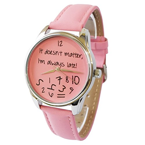 rosa-orologio-cinturino-in-pelle-sono-sempre-in-ritardo