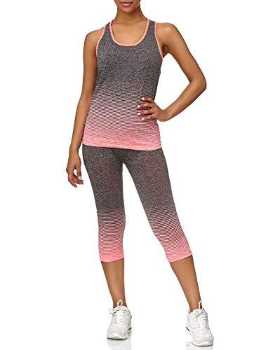 ArizonaShopping - Anzüge & Sets Damen Sport Set Crop Top Leggings Fitness Kombi Stretch Zweiteiler D2428, Größe Damen:one-Size, Farben:Bunt