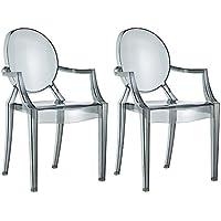 Damiware Spirit 2er Set Design Stuhl Mit Armlehnen Transparent    Wohnzimmerstuhl Esszimmerstuhl Hochwertige Verarbeitung, Komfortables