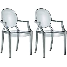 Spirit Smoke Ghost silla para comedor, sillón de diseño moderno estilo Louis Kartell Philippe Starck, juego de 2sillas