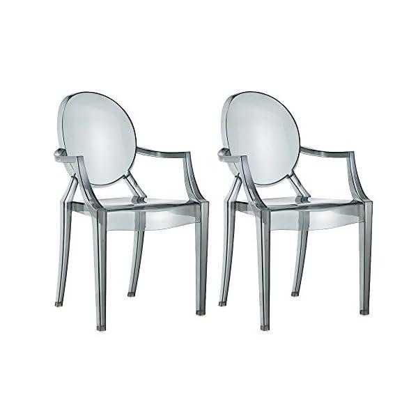 Wohnzimmer Stuhl | Damiware Spirit 2er Set Design Stuhl Mit Armlehnen Transparent