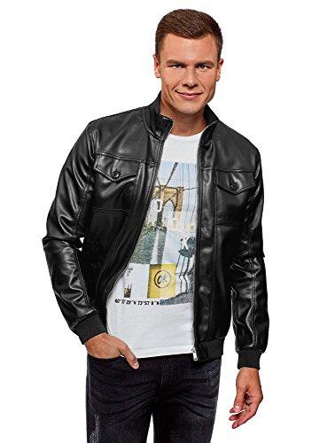 oodji Ultra Herren Bomber-Jacke aus Lederimitat mit Aufgesetzten Brusttaschen, Schwarz, DE 56 / XL