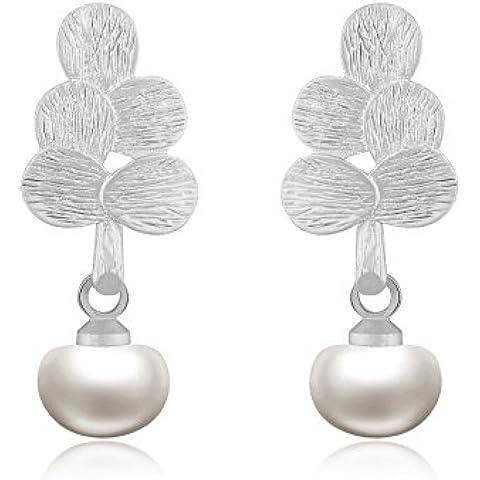 Pendientes del perno prisionero de mujer - Forma de árbol - Natural agua dulce de la perla 6mm - Chapado en plata