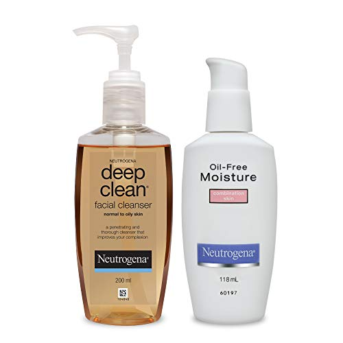 Neutrogena Deep Clean Facial Cleanser with Oil-Free Moisture for Combination Skin, Brown, 200 ml (Pack of 2)