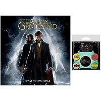 Set: Animales Fantásticos: Los Crímenes De Grindelwald, Calendario Oficial 2019 (30x30 cm) con 1x Set De Chapas (15x10 cm)