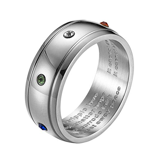 tahl Bewusstseins Ring Regenbogen Zirkonia 8mm Band was Krebs Nicht tun kann ()