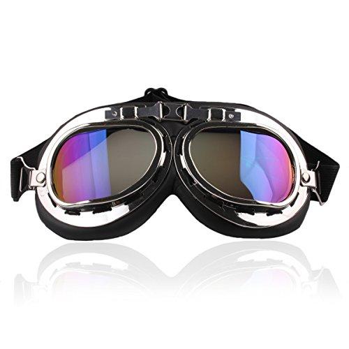 Butterme Motorrad Schutzbrille Raf Aviator Vintage Pilot Biker Cruiser Pilot Fliegerbrille Motocross Cruisers Windproof Sun UV Wind Eye Protect Helmmaske Eyewear Sport Coloful (Damen Motorrad Cruiser)