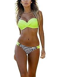 Favoridol Femme Sexy Push Up Bikini Sets Rembourré Maillot Deux Pièces Couleur Contrastée à Bretelle à Rayure