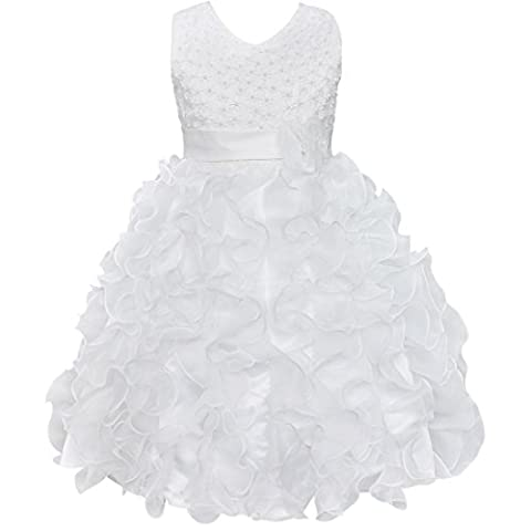 iiniim Flower Girls Princess Butterfly Tulle Dress Party Wedding Pageant Bridesmaid Clothing (5-6 Years, White