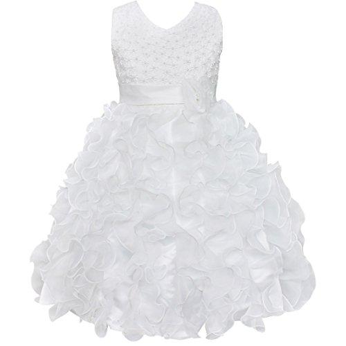 YiZYiF Robe sans Manches Cérémonie Demoiselle d'Honneur Enfant Fille - Blanc 2-3 ans
