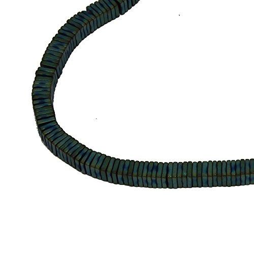 Hämatit Perlen–1Strang von 4mm Flache quadratische Beads,–grün vergoldet Hämatit (Strang Flache Perlen Rechteck)