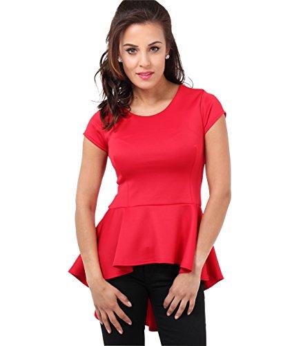 KRISP Damen Schößchen Top Kurzarm oder Ärmellose Bluse Rot 6734